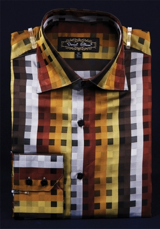 Mens High Collar Shirts DE Brown Fancy Square Pattern FSS1401 - click to enlarge