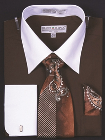 DE Mens Brown White French Cuff Dress Shirt Tie Set DS3006WTPRT - click to enlarge