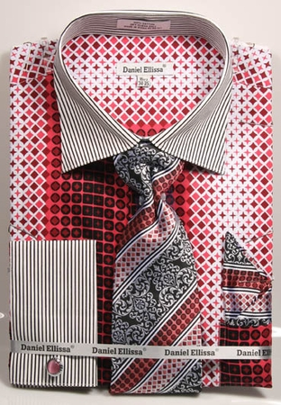 DE Mens Coral French Cuff Dress Shirt Bold Pattern Tie Set DS3786P2 - click to enlarge