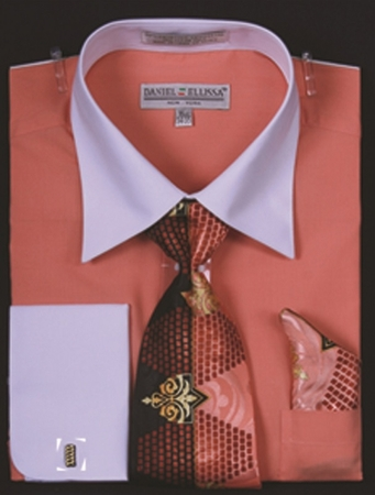 DE Mens Coral White French Cuff Dress Shirt Tie Set DS3006WTPRT - click to enlarge