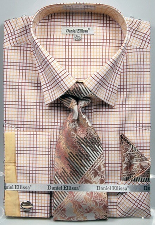 DE Mens French Cuffed Dress Shirts Beige Plaid Style Tie Set DS3781P2 - click to enlarge