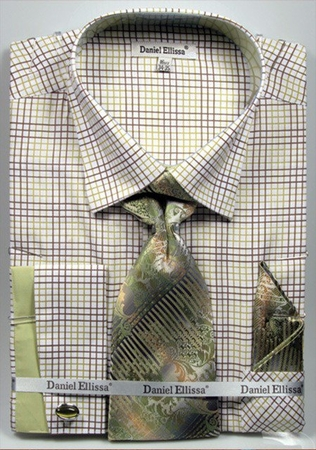 DE Men's French Cuff Dress Shirt Green Graphic Tie Set DS3781P2 - click to enlarge