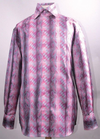 High Collar Shirts Mens Shiny Fuchsia Diamond Pattern FSS1426 - click to enlarge