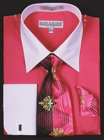 DE Mens Fuschia White French Cuff Dress Shirt Tie Set DS3006WTPRT - click to enlarge