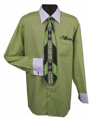 DE Mens Lime White French Cuff Dress Shirt Tie Set DS3006WTPRT - click to enlarge