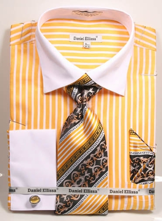DE Mens Mustard Loud Stripe French Cuff Dress Shirt Tie Sets DS3787P2 - click to enlarge