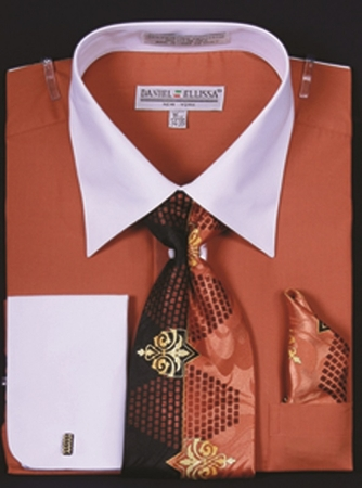 DE Mens Rust White French Cuff Dress Shirt Tie Set DS3006WTPRT - click to enlarge