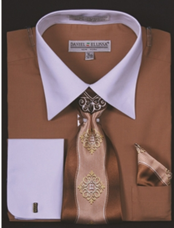 DE Mens Tan White French Cuff Dress Shirt Tie Set DS3006WTPRT - click to enlarge