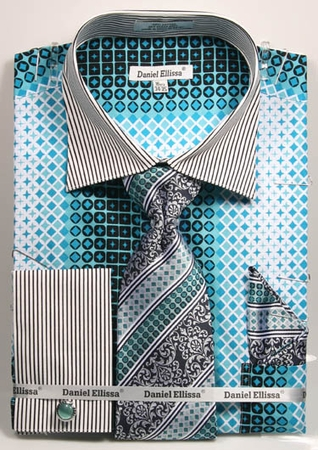 DE Mens Teal Geo Style French Cuff Dress Shirt Tie Set DS3786P2 - click to enlarge