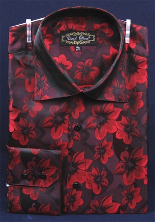 Mens High Collar Shirts DE Burgundy Shiny Floral Design FSS1402 - click to enlarge