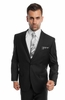 Demantie Mens Plain Black Suit 2 Piece Flat Front M202-01