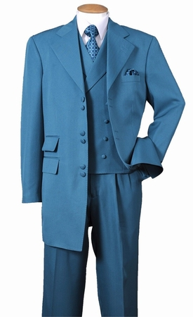 Mens Zoot Suits Turquoise Whisper Stripe Six Button Vested Milano 2917V - click to enlarge