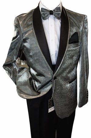 Dinner Jacket for Men Silver Shiny Blu Martini Park 5876 IS - click to enlarge