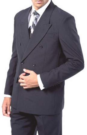 Double Breasted Suit Men's Navy Blue Pleated Pants Milano 901P - click to enlarge