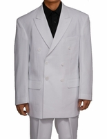 Double Breasted Suit Men's White Pleated Pants Milano 901P