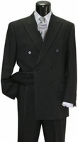 Double Breasted Suit Mens Black 6 Button Pleated Pants Milano 901P