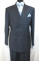 Double Breasted Suit Mens Blue Square Plaid Side Vents Vittorio C6401D