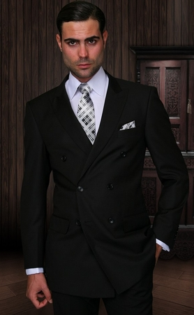 Double Breasted Mens Wool Suit Black Alberto Nardoni  DB-1 Solid - click to enlarge