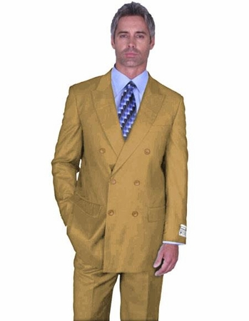 Double Breasted Wool Suit Mens Camel Khaki Alberto Nardoni DB-1 - click to enlarge