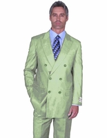 Double Breasted Wool Suit Mens Light Green 6 Button Alberto Nardoni DB-1