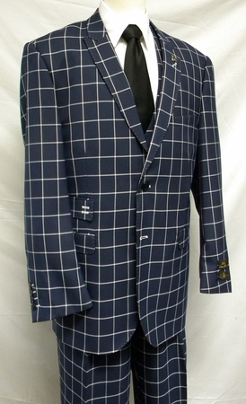 EJ Samuel Navy Square Pattern 1920s Fashion Suit M2644 IS - click to enlarge