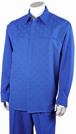 Fortino Mens Royal Blue Diamond Pattern Casual Walking Suit 2762 - click to enlarge