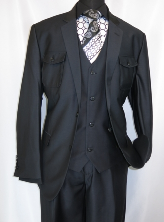 EJ Samuel Black Safari Style 3 Piece Fashion Suit M2686 - click to enlarge