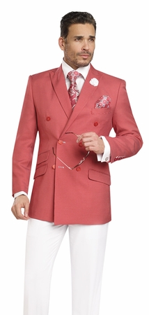 EJ Samuel Double Breasted Summer Suit Red Nailshead M2702 - click to enlarge