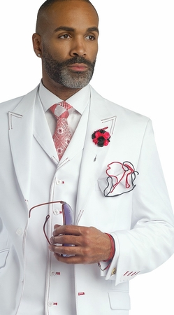 EJ Samuel Mens White Red Stitch 3 Piece Fashion Suit M2688 - click to enlarge