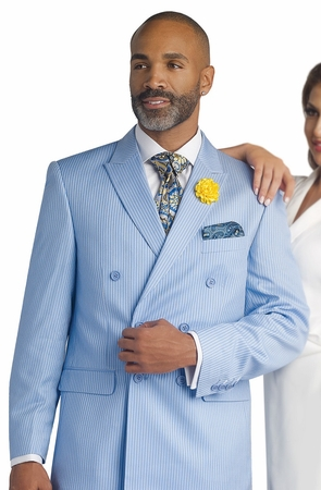 EJ Samuel Mens Light Blue Stripe DB Fashion Suit M2678 - click to enlarge