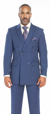 EJ Samuel Mens Blue 1940s Stripe Double Breasted Suit M2701 - click to enlarge