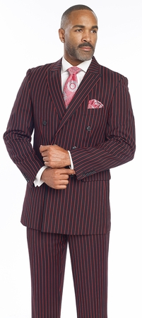 EJ Samuel Mens Black Red 1940s Stripe Double Breasted Suit M2701 - click to enlarge