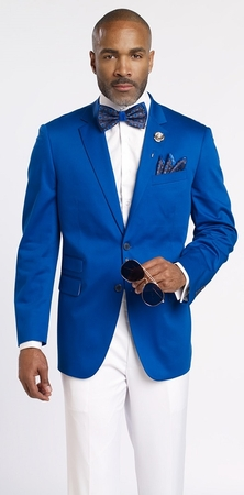 EJ Samuel Mens Royal Blue Side Vent Blazer Regular Fit Jacket J22 - click to enlarge