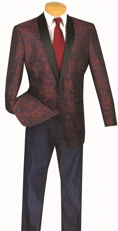 Mens Wine Fancy Pattern Shawl Collar Dinner Jacket By Vinci BT-01 Size XLarge Final Sale - click to enlarge