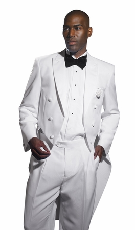 EJ Samuel Mens White Tuxedos with Tails TUX107 - click to enlarge