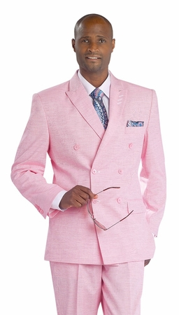 EJ Samuel Mens Heather Pink Double Breasted Fashion Suit M2672 - click to enlarge