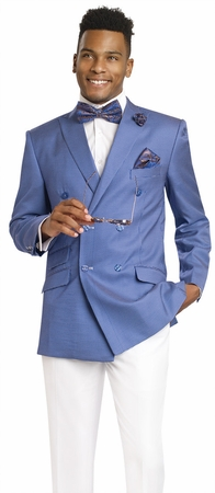 EJ Samuel Double Breasted Summer Suit Blue Nailshead M2702 - click to enlarge
