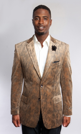 Empire Mens Beige Streak Pattern Evening Blazer ME175 - click to enlarge