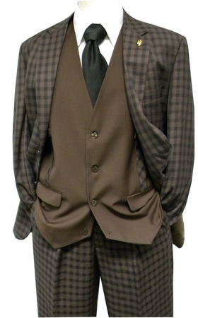 Falcone Mens Brown Gingham Ruler Vested Fashion Suit 5412-104 IS - click to enlarge