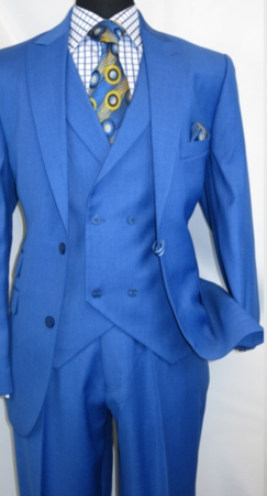 Martini Men's Sapphire Blue State Vest 3 Piece Suit 3420-552 IS - click to enlarge