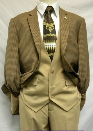 Falcone 4 Piece Tan Luck Trevo Mini Check Fashion Suits 5024-024 IS - click to enlarge