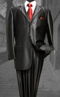 Mens Glossy Black Sharkskin Suit 3 Button Fortini 58025 Size 46 Long Final Sale