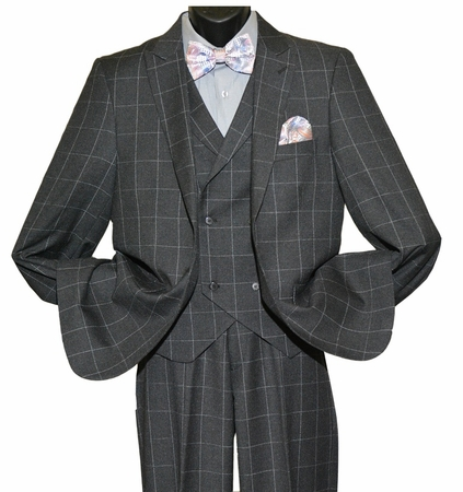 Falcone 1920s Style Charcoal Square Plaid Ken Vested Suit 5638-021 IS - click to enlarge