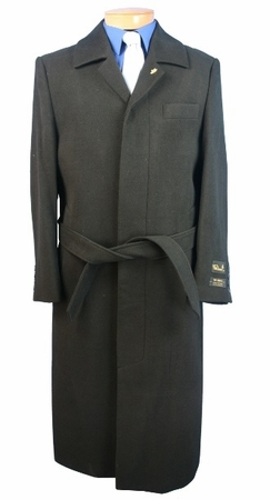 Blu Martini Mens Aero Black  Full Length Wool Blend Topcoat 4150-000 - click to enlarge