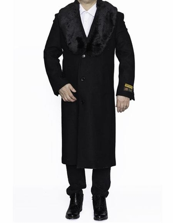 Mens Fur Collar Winter Coat Black Wool Full Length Alberto - click to enlarge