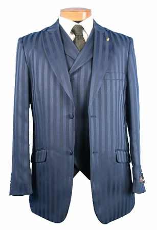 Falcone Mens Big and Tall Shiny Stripe Suit Mat Vested 380 - click to enlarge