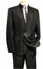 Blu Martini Mens Black Mandarin Collar Suit Tonal Dandiduo 8046-800 IS