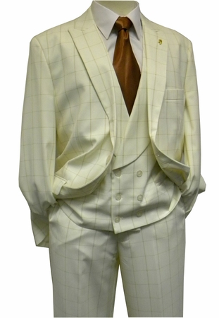 Falcone Men's Cream Maser Vested Fashion Suit 5414 IS - click to enlarge