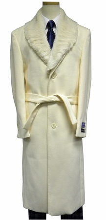 Blu Martini Mens Full Length Fur Collar Cream Wool Overcoat 4150-106 Vance - click to enlarge