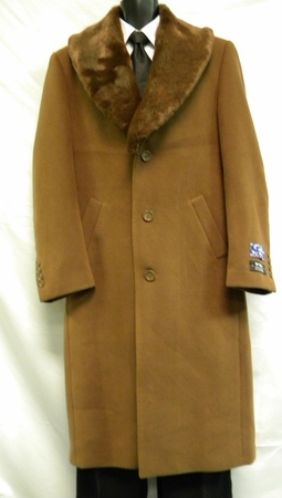 Blu Martini Mens Full Length Fur Collar Rust Wool Overcoat Vance 4150-068 IS - click to enlarge